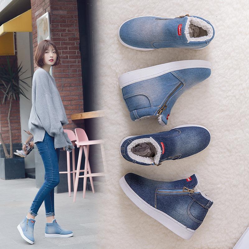 جديدة الثلوج في فصل الشتاء رشاقته الأحذية النسائية الدنيم الأحذية القطن الكورية الأحذية المسطحة طالب الحجم الكبير