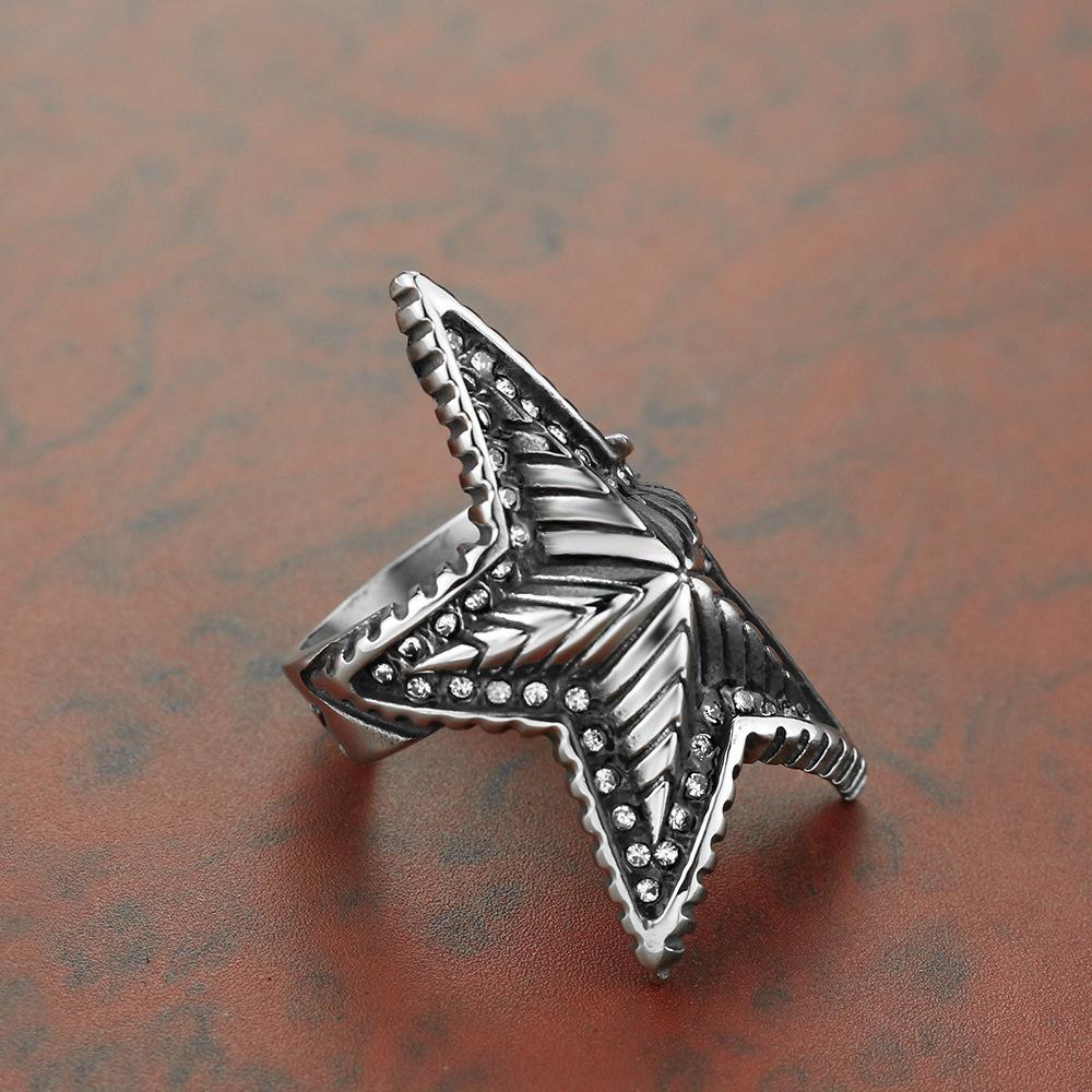 2020 Neue Beliebte Accessoires Fünfzeige Stern Diamant Set Schmuck europäisch und amerikanisch Edelstahl Herren Punk Ring US Größe