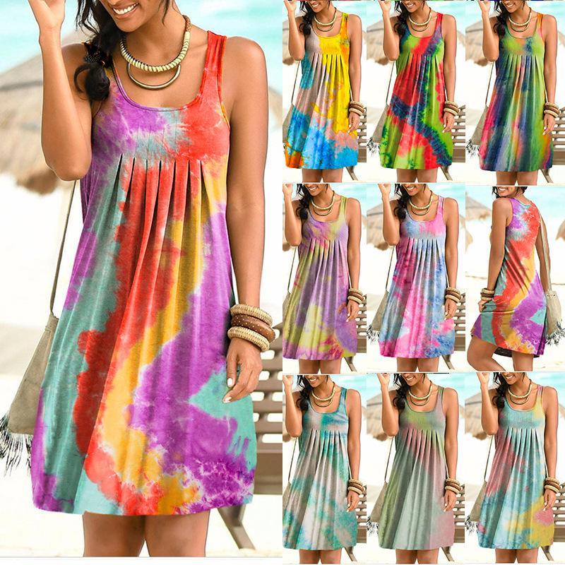 여성 Desiger 드레스 여름 섹시한 클럽 Bodycon 펜슬 스커트 패션 민소매 라운드 칼라 진자 스커트 인쇄 여성의 드레스 타이 염색