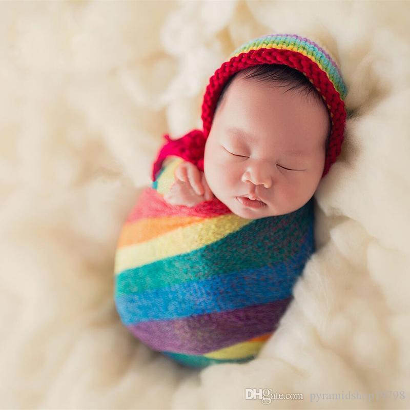 Arc-en-Mohair du nouveau-né Wrap extensible emmailloter Photographie Props Couverture infantile doux photo Props Couvertures bébé 0-2m 3 couleurs
