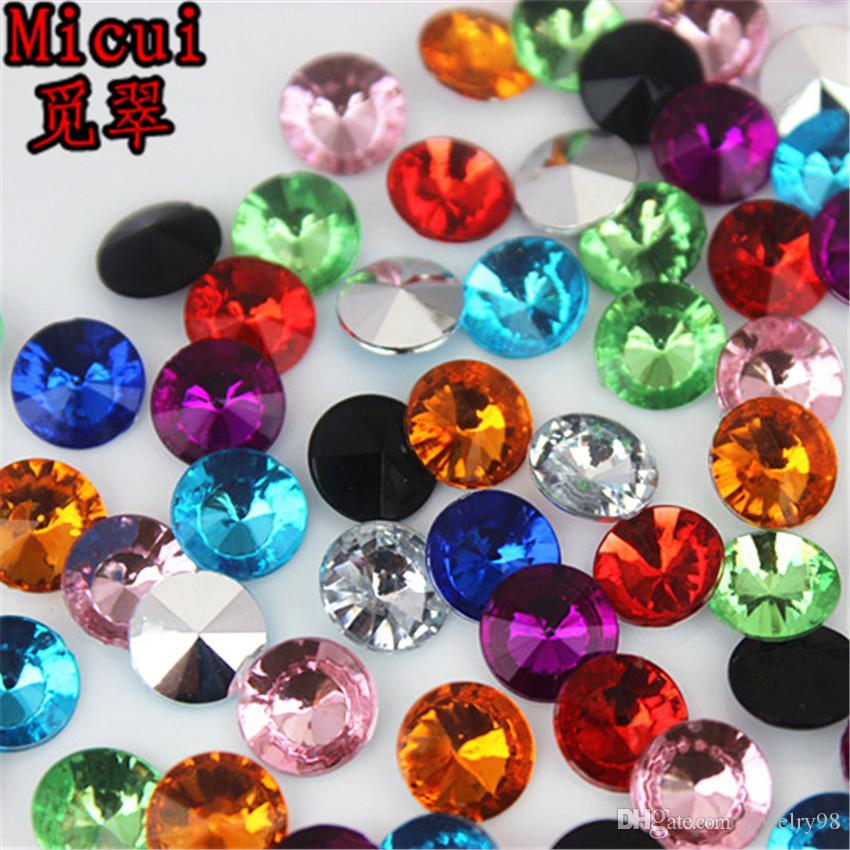 500pcs Micui 8mm rhinestone acrilico rotondo Pointback perline di cristallo Pietre rhinestones per il vestito da sposa gioielli Mestieri della decorazione di DIY DH739