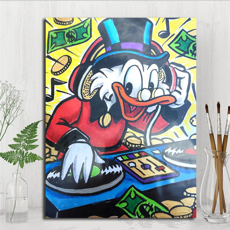 2019 Scrooge Dj Monopolyingly Mimo Street Art Graffiti Duck Dollar Oil Painting Canvas Wall Picture For Bedroom Hd Print Home Decor From Iwallart