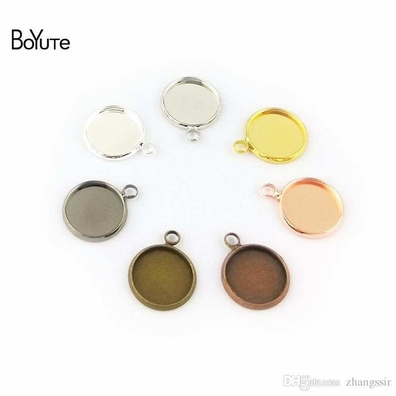 BoYuTe (50 Pieces/Lot) 10MM Cabochon Base Blank Pendant Bezel Tray Diy Hand Made Jewelry Pendant Settings