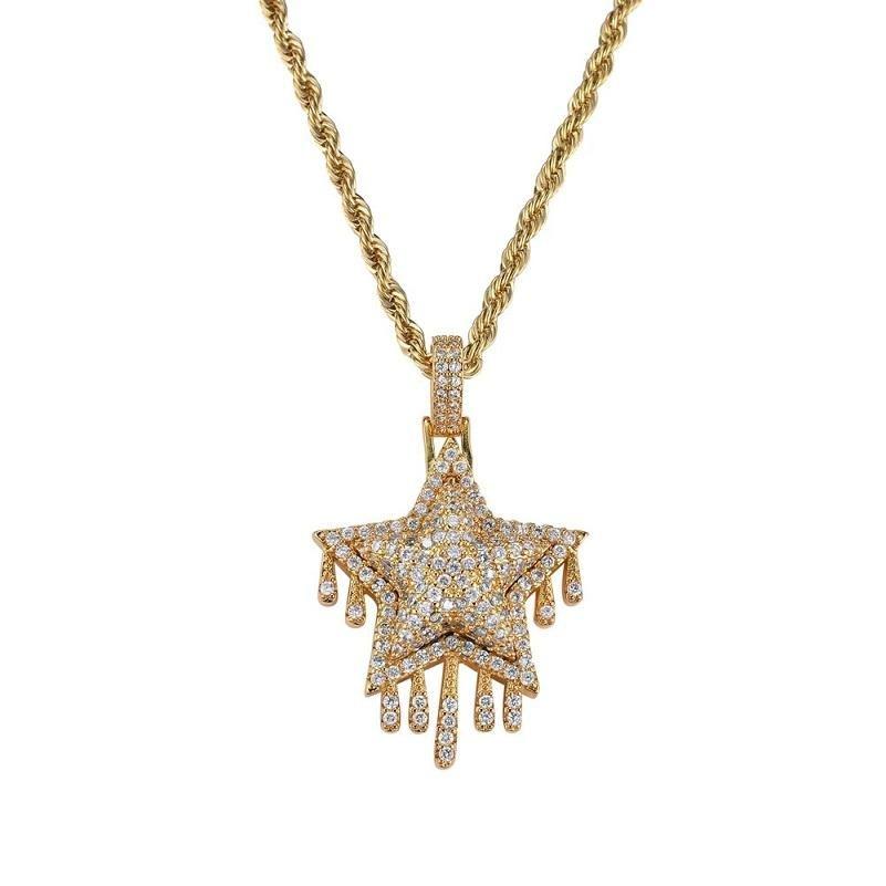hip diamants étoiles de houblon colliers pendentif pour hommes, femmes collier ouest pompon luxe plaqué or 3 mm 60 cm chaîne de torsion en acier inoxydable