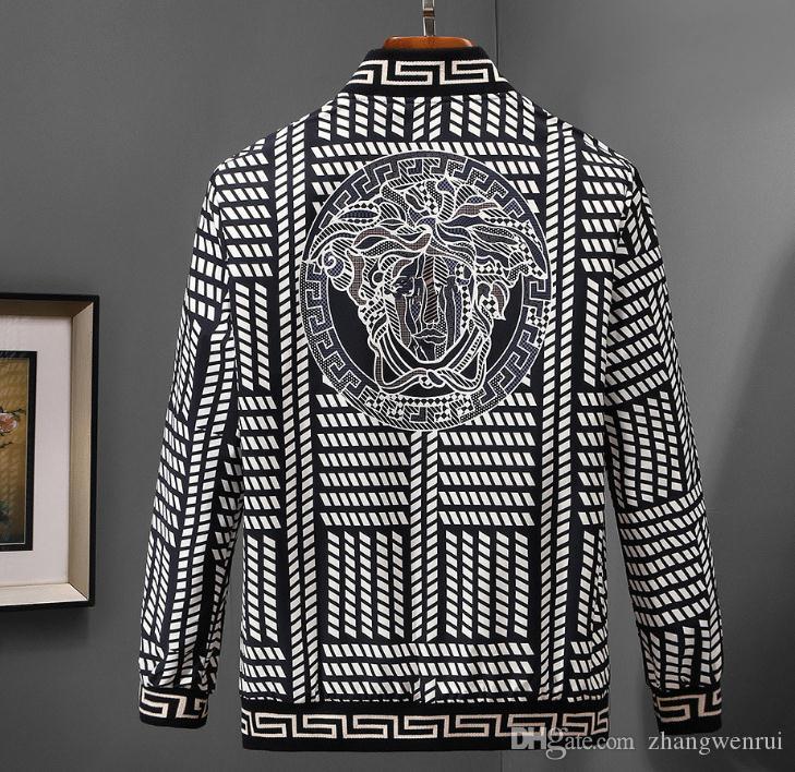 Giacca a vento nuovi maschile italiana di marca di lusso stampato casuale degli uomini giacca a maniche lunghe giacca Medusa con cerniera M-3XL.