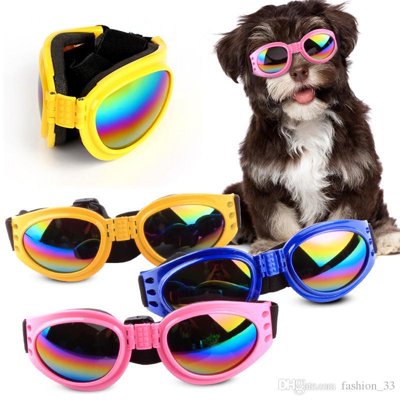 Dog Glasses Fashion Foldable Sunglasses Medium Large Dog Glasses Big Pet Waterproof Eyewear Protection Goggles UV Sunglasses YD0318
