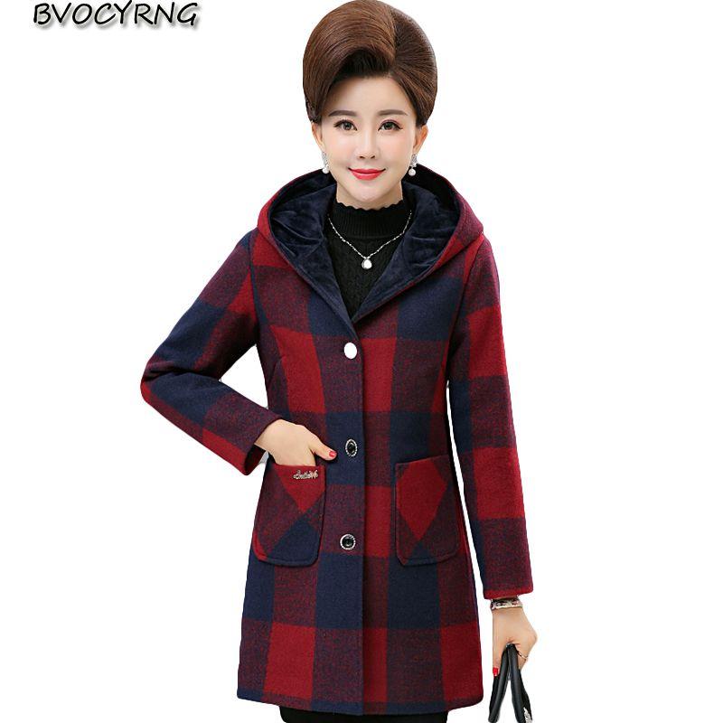 New Middle-aged Women Coats Grid Winter Warm Wool Coat Female Autumn Plus Size Hooded Parka of Women's Long Slim Outerwear K0069