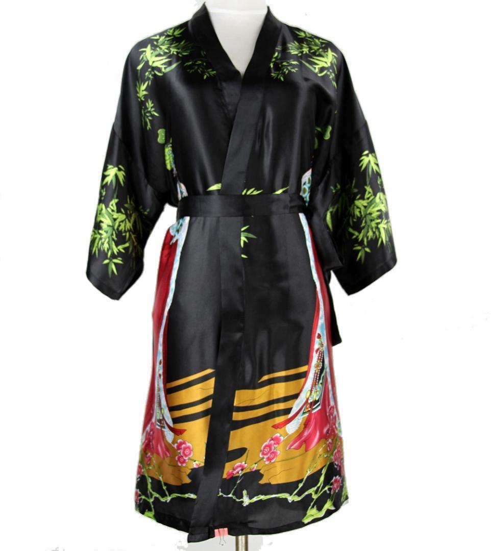 مثير الأسود الصينية المرأة الحرير قصيرة رداء الوطنية الملابس الداخلية ثوب النوم ملابس خاصة كيمونو حمام ثوب Pijamas زائد الحجم XXXL NR046