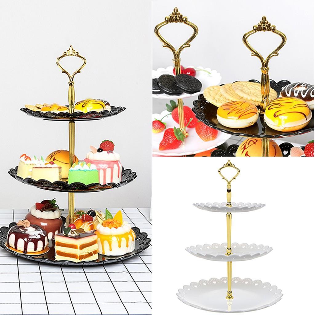 3 Tier Tortenständer Afternoon Tea Hochzeit Teller Partei Geschirr New Bakeware Plastikbehälter Display Rack Kuchen, der Werkzeuge # YL5