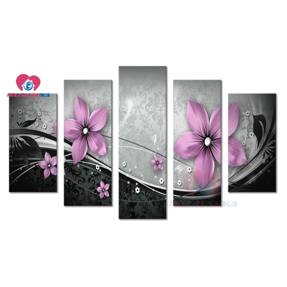 diamond painting Flowers triptych 5d diamond mosaic 5pcs pictures of rhinestones diamond embroidery sale full drill square decor