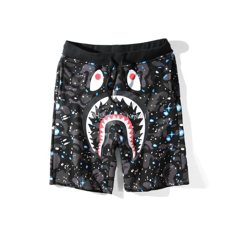 Bape Erkek Kısa Pantolon Moda Stilist Erkek Hip Hop Köpekbalığı Baskı Pantolon Yaz Plaj Şort Siyah M-XXL