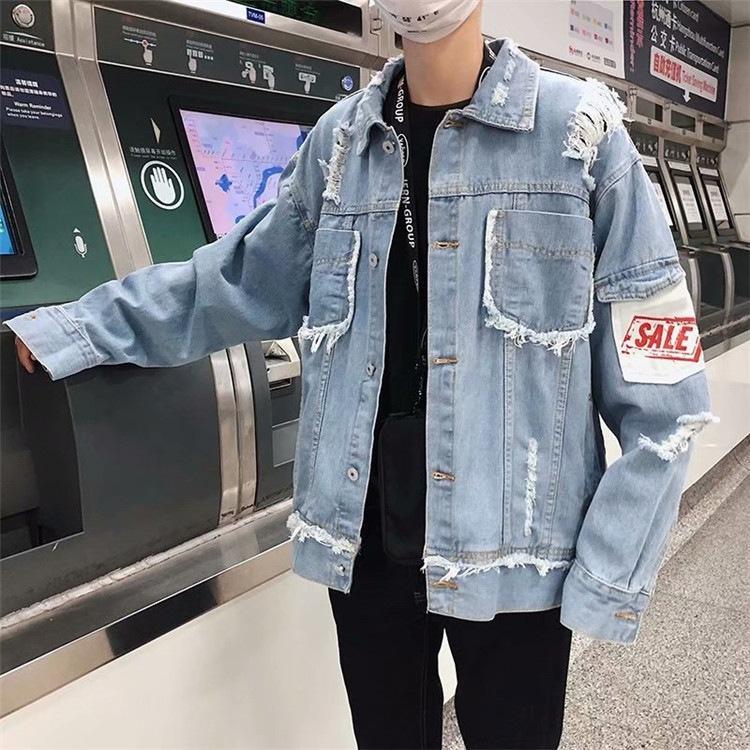 봄과 가을 한국 스타일의 청바지 코트 의류 패션에 구멍 자켓 커플 BF 스타일 학생들과 남성의 느슨한 맞춤 얼짱