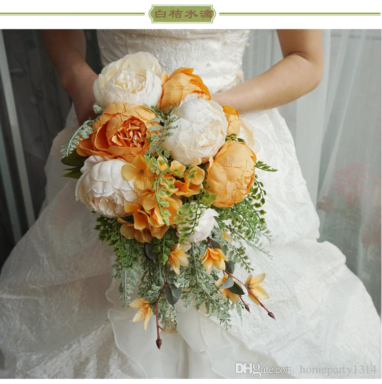 2019 romantische Brautstrauß Hochzeit Blumen Braut Hochzeit Blumen Künstliche Blumen Wasserfall Braut Brosche Bouquets Blumenstrauß De Mariage