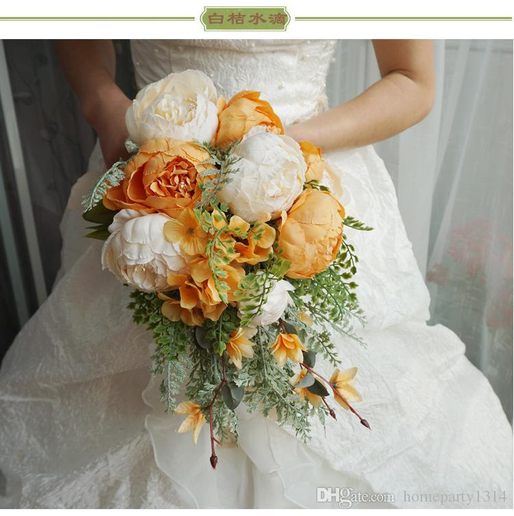 2019 romántico ramo de novia de la boda Flores flores de la boda la novia flores artificiales de la cascada de novia broche del ramo ramos de mariage