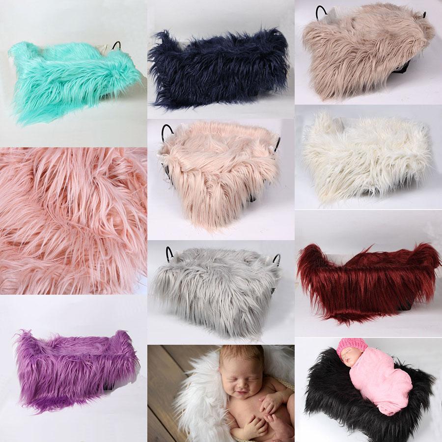 50 * 60cm Neugeborene Fotografie Kulissen Faux Fur Decke Babydecken Kinder Basket Filler Stuffer Baby-Foto-Props Teppich Bettwäsche M1943