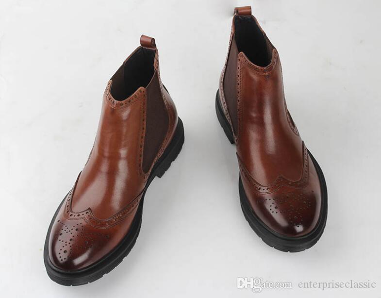 Botas de tobillo, zapatos de hombre, zapatos altos, casuales, banda elástica, zapatos brogue tallados, dedos en punta, zapatos de vestir marrones, botas de vestir