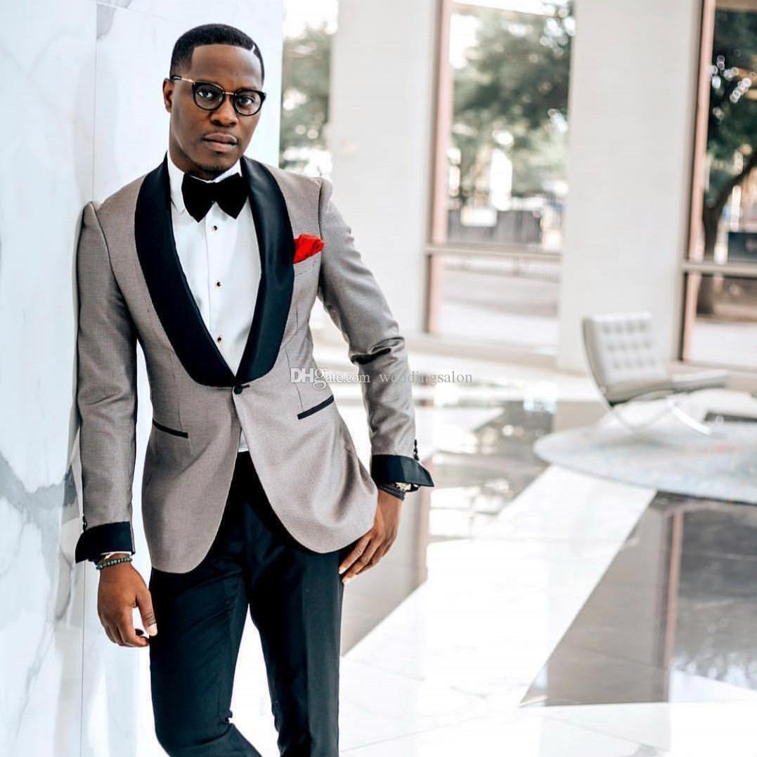 New Arrival Mens Prom Suits Shawl Lapel Wedding Suits For Men Cheap Groomsman Tuxedos Two Pieces One Button Blazers Jacket+Pants+Bow Tie