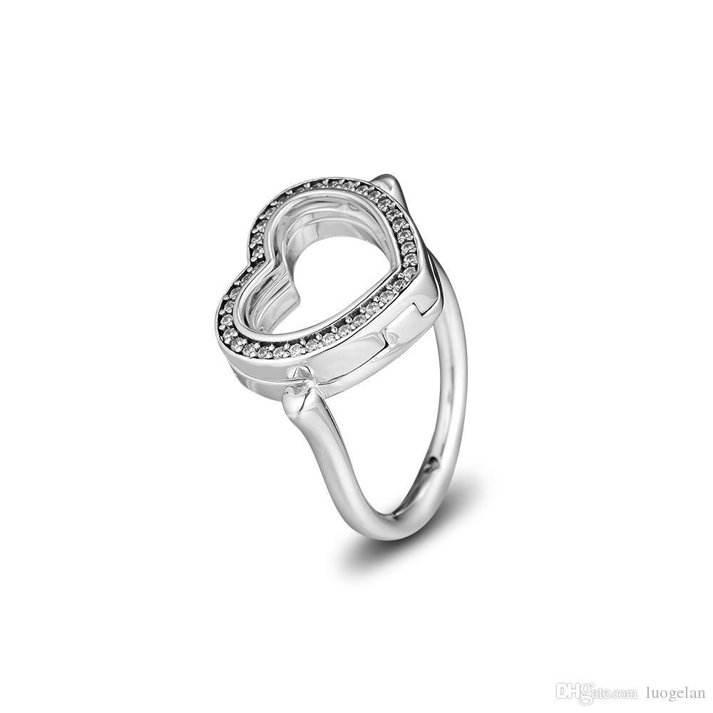2018 inverno 925 anelli in argento sterling frizzante cuore galleggiante anello originale moda fidanzamento fedi nuziali gioielli fai da te per le donne
