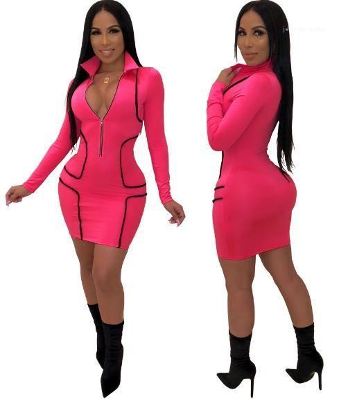 Zipper Designer Enges Kleid Slim Fit dünnes Kleid der Frauen reizvolle Fest Farbe Kleid-Frauen tiefere V Bodycon-Kleid-Front