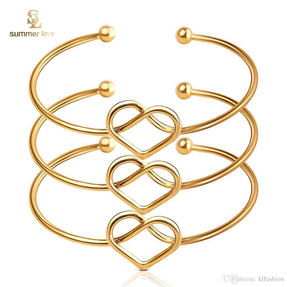 2019 de alta qualidade coração de ouro pulseira aberta para mulheres tamanho ajustável cuff bangle moda jóias atacado