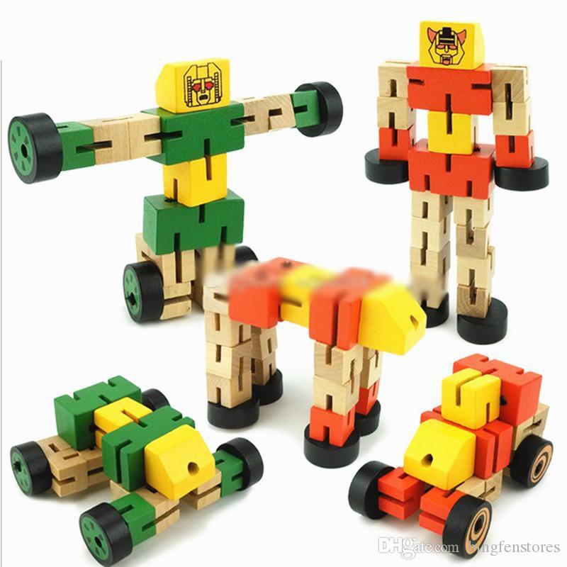 15cm / 6inches Holztrans Roboter-Auto-Baby-Kind-Abbildung Spielzeug-nettes Roboter-Modell Desktop-Dekor