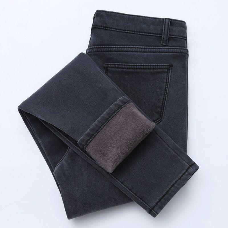 Jeans femininos 2021 inverno para mulheres cintura alta calças femininas engrossaram plus tamanho veludo grosso quente push up mamãe mulher