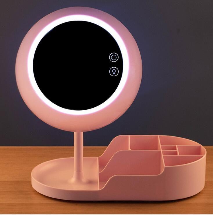 الجديدة بقيادة ماكياج المرآة شحن مصباح مصباح مكتبي مرآة خلع الملابس مصباح ماكياج الذكية يلة مرآة الخفيفة هدية عيد الحب