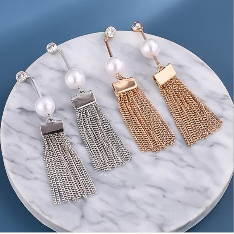New Fashion Tassel Long Tassel pearl Earrings Copper Crystal Long Drop Earrings For Women Wedding Statement Jewelry Party Jewelry Gifts