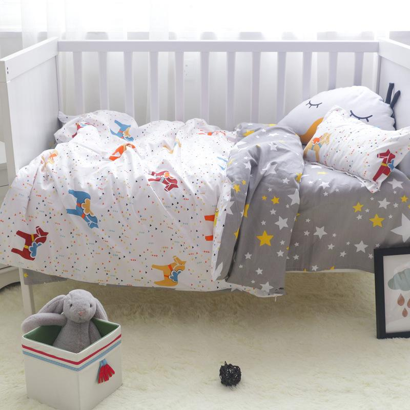 100%Cotton Crib Bed Linen Kit Cartoon Baby Bedding Set Includes Pillowcase  Bed Sheet Duvet Cover Without Filler Beddings For Girls Bedding Sets For ...