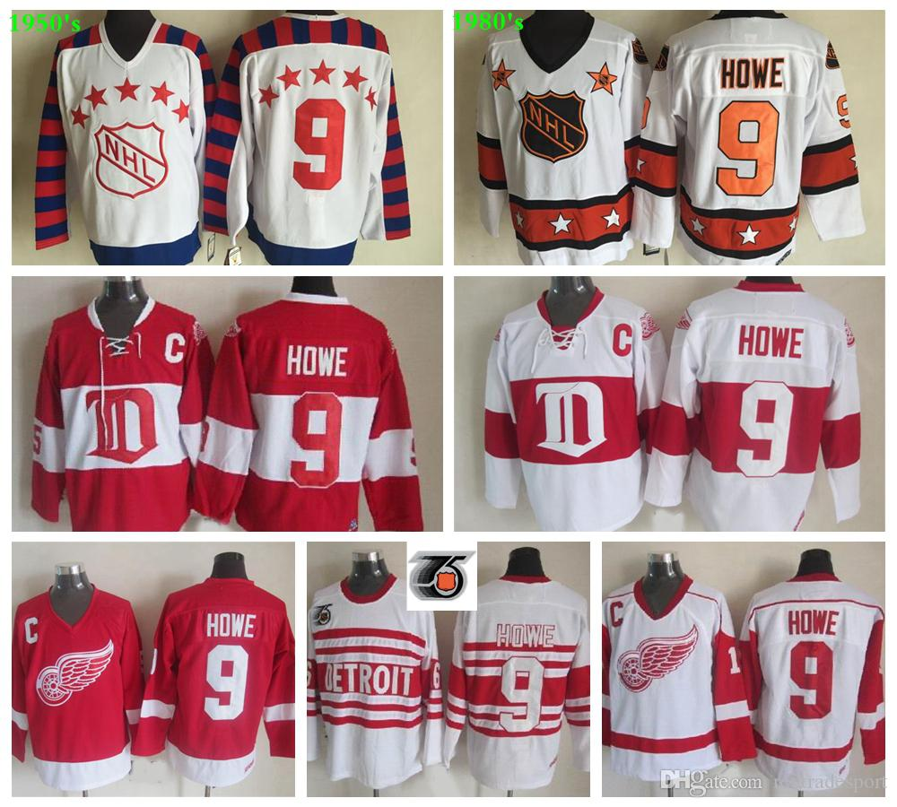 1950 All Star Gordie Howe Hockey Maglie Vintage Detroit Red Wings Winter Classic # 9 Gordie Howe Camicie cucite a buon mercato C Patch