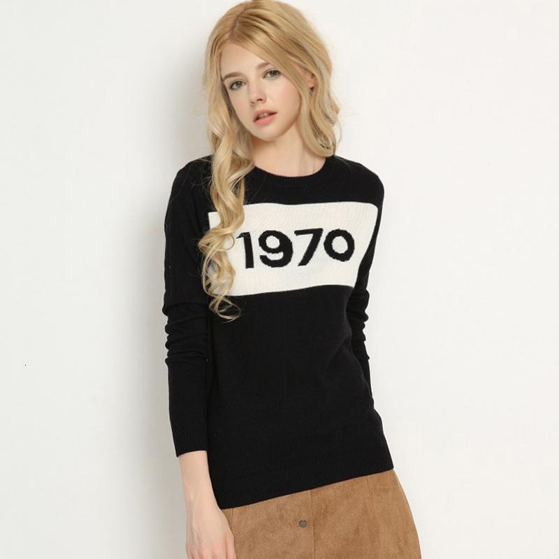 여성 스웨터 여성 디자이너 스웨터 여성 1970 문자 풀오버 긴 소매 스웨터 핫 패션 스타 톱 편지 1970 뜨개질 탑