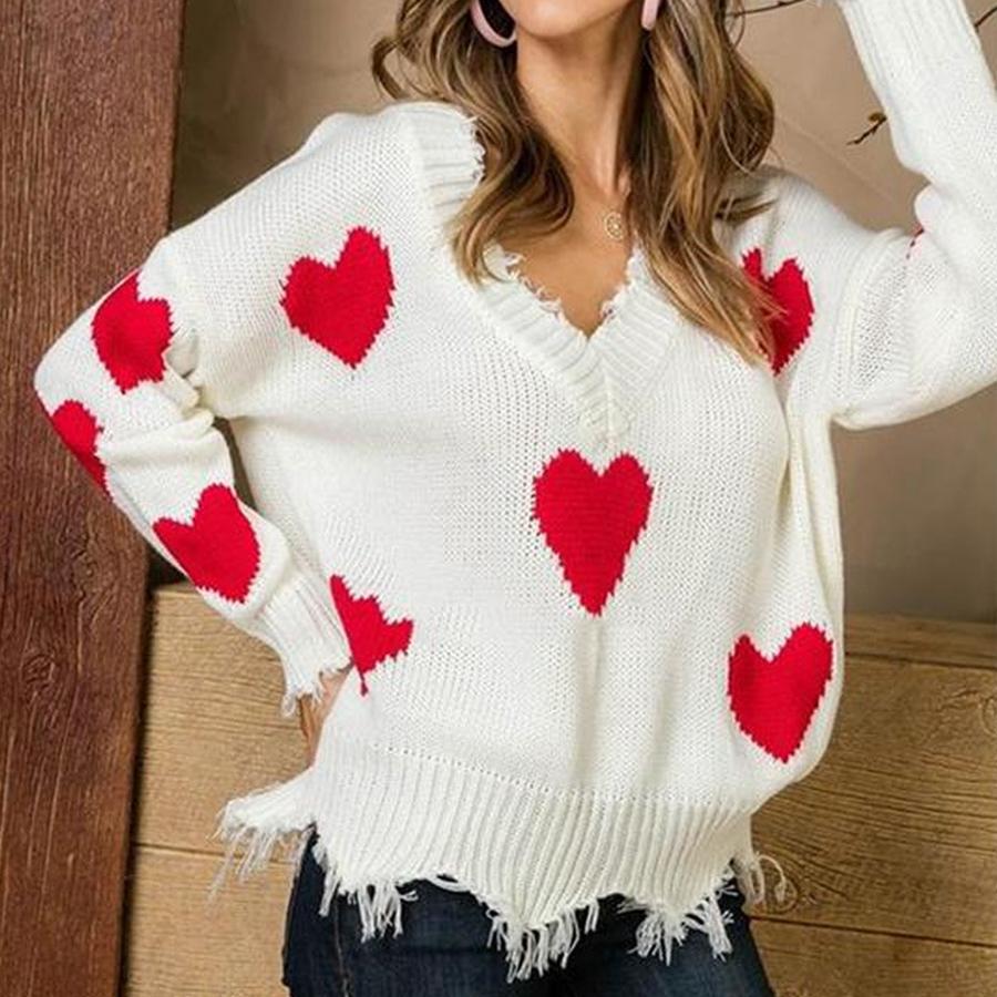 كم قلب V الرقبة سترة المرأة الحب البلوز حك طويل الخريف الشتاء لصق القلب محبوك البلوز بنات LJJO7584-6
