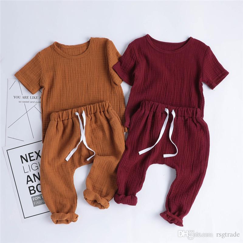 INS Summer Autunno Bambino Bambini Bambini Baby Boys Girls Abbigliamento Set Abbigliamento Biologico Cotone in cotone manica corta Tees + Pantaloni cinturini 2 pezzi
