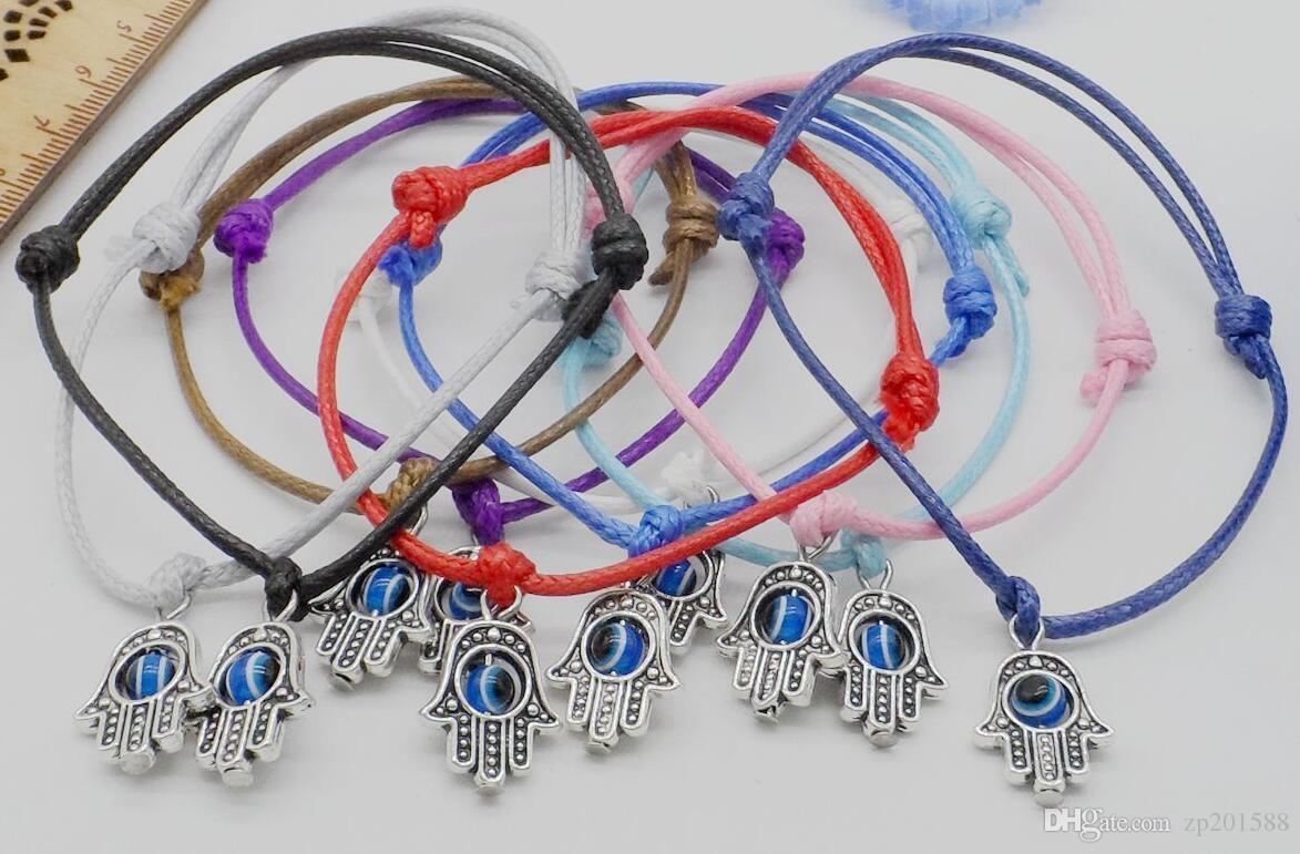 Evil Eye Hamsa Hand Bracelets For Women Wax Cord String Charms Bracelet Fashion Jewelry Adjustable Bracelets Party Gothic Friendship Gift