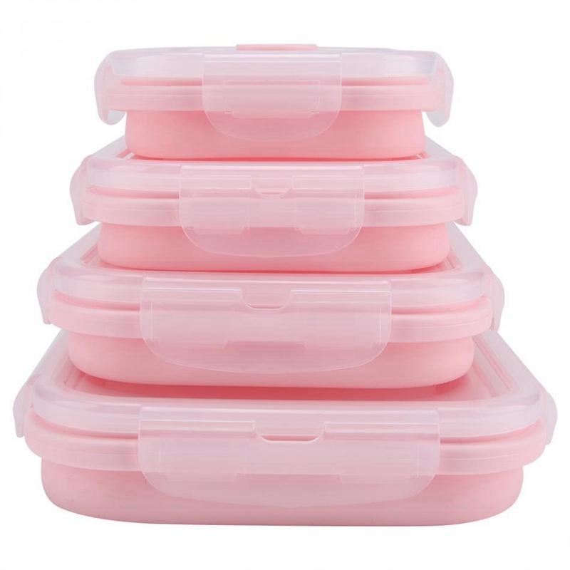 Nuevo Conjunto de 4 piezas rosa Silicona de Calidad de Alimentos caja de almuerzo plegable respetuoso del medio ambiente del envase de alimento Bento caja plegable portátil Microwav