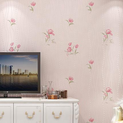 Papier Peint Non-tissé De Jardin Romantique Fleur Rose 3D Chaud Bbedroom Salon TV Fond Papier Peint Rouleau