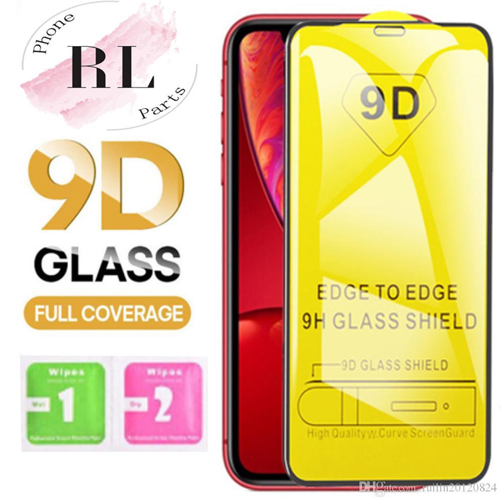 9D aus gehärtetem Glas für iPhone 11 Pro Xs Max X XR 7 8 Samsung S10 A50 M20 9H Full Cover Kleber Displayschutz