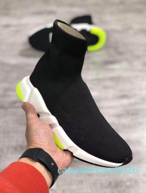 Nuevo diseñador hombres mujeres zapatillas de deporte Speed Runner zapatos de moda calcetín Triple negro botas rojo plano entrenador hombres mujeres zapatos casuales tamaño 36-46 c26