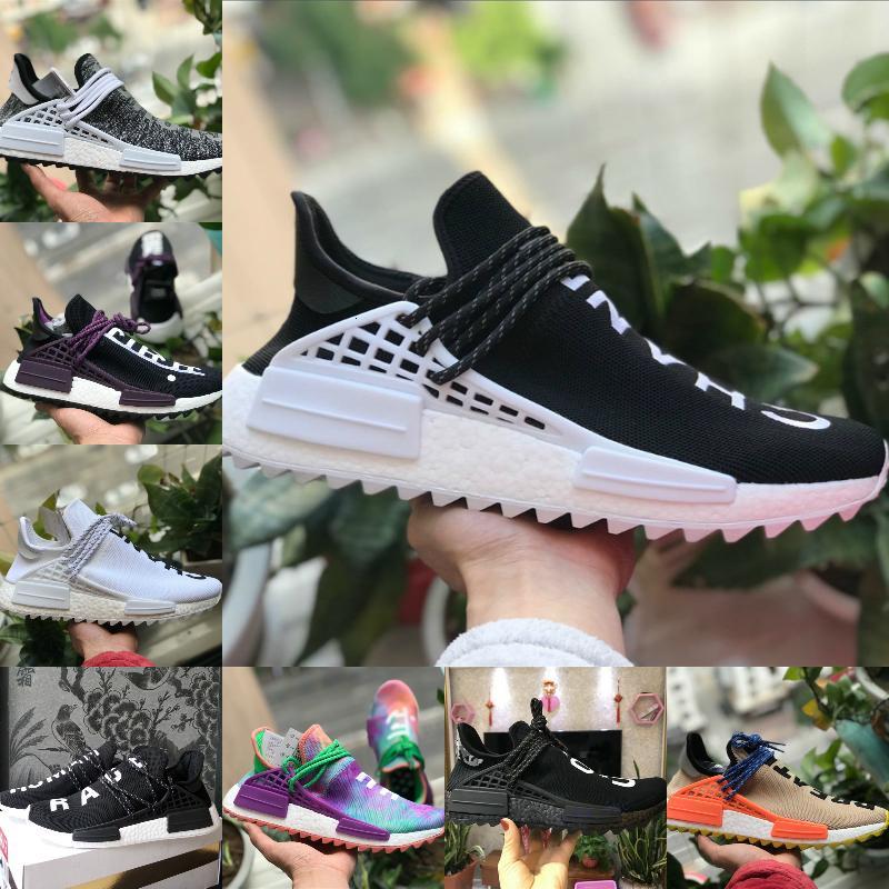 الجملة 2019 جديد فاريل وليامز الرجال النساء أحذية الجري مصمم الرياضة أسود أبيض Primeknit حذاء رياضة الجري عارضة