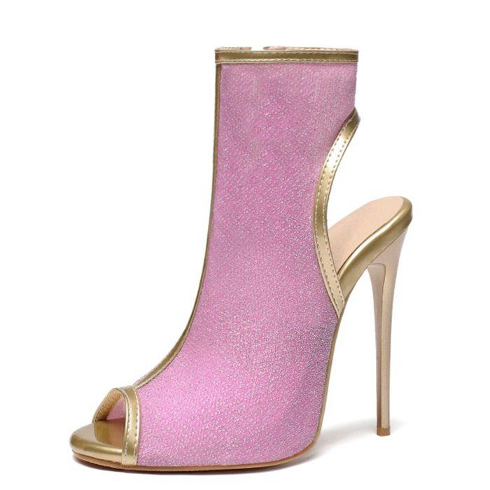 Large Size 47 donne di estate Scarpe stivaletti signore stiletto Tacchi alti Stivaletti donne della punta di pigolio di Open Tacchi Sandali Pompe