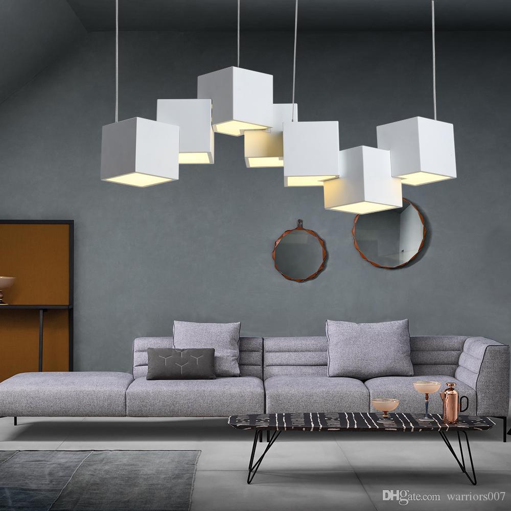 مصمم ما بعد الحداثة بقيادة الثريا الإضاءة 49W 56W الفن سحر مكعب غرفة الطعام المعيشة بار الإبداعية تعليق ومينير