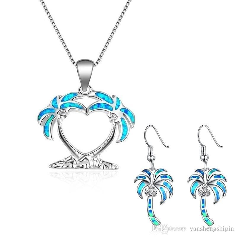 Sunny Beach - Kadın Düğün Sevgililer Günü Hediyesi için Hindistan cevizi ağacı Stil Mavi Opal kolye kolye ve Küpe Takı Seti