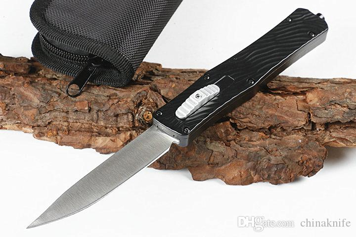 New Butterfly Auto Tactical Knife 440C Drop Point Satin Blade Alloy Handle Outdoor Survival Rescue Knives EDC Gear