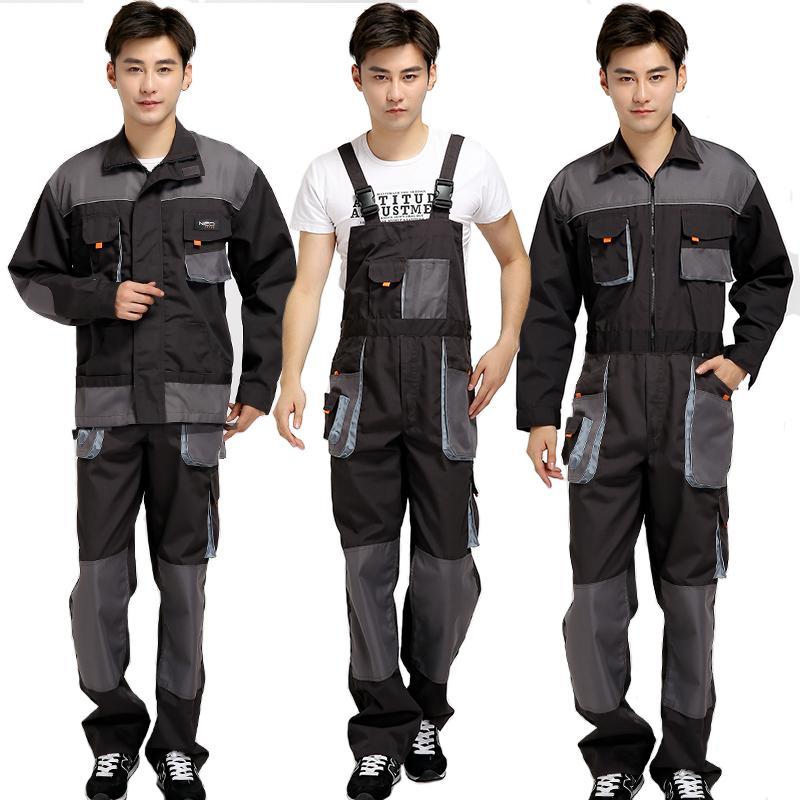 Más el tamaño de los hombres babero de trabajo Trajes de Hombre de trabajo uniformes ropa de moda Herramientas del trabajador del reparador de los guardapolvos de la correa del mono