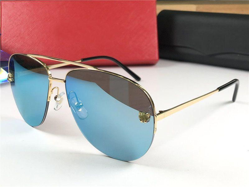 Gafas de sol de diseñador al por mayor-moda 0065 medio marco simple estilo vanguardista popular gafas de lente uv400 al aire libre de alta calidad