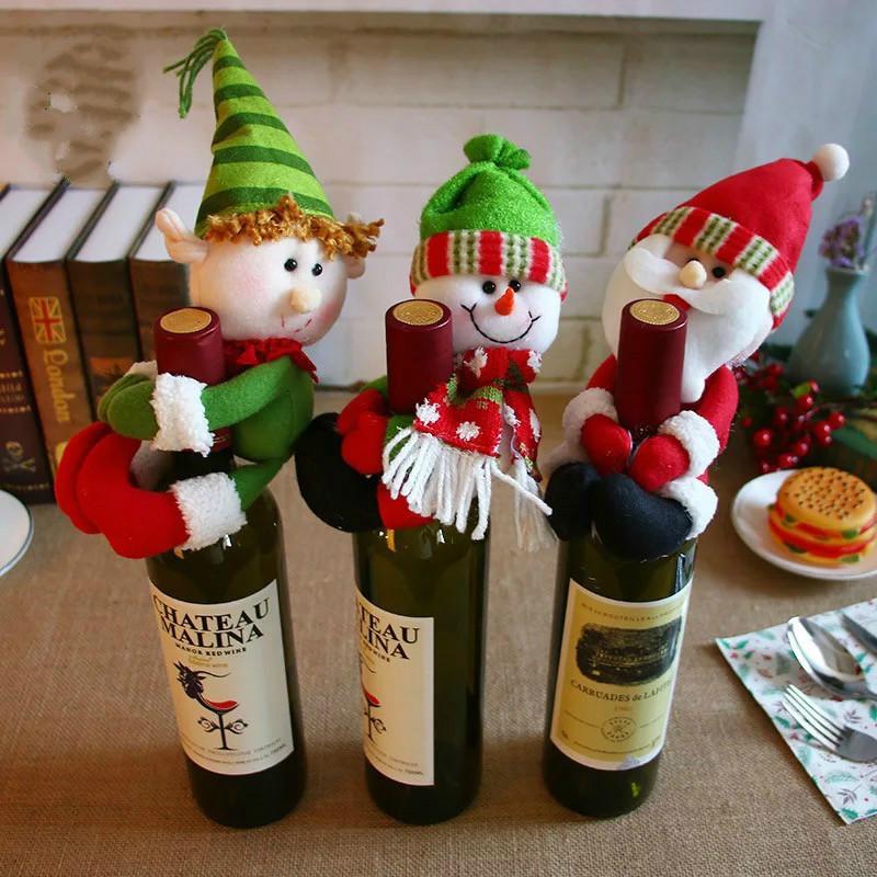 Christmas Noel Wine Bottle Cover New Year Gift Bag Holder Christmas Decoration For Home Party Dinner Table Decor