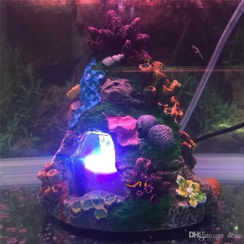 Acuario adorno de resina de rocalla cueva escondite Evitar el camarón Ocultar cueva bajo el agua del acuario LED de la luz de piedra burbujas de aire Decoración