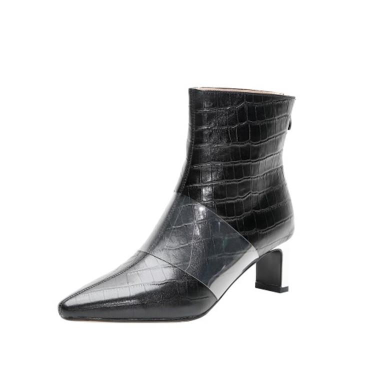 Sıcak Satış-kadın yarım bot inek derisi kış kısa peluş damalı yüksek topuklu çizmeler sivri burun kadınları 40 fermuarlar
