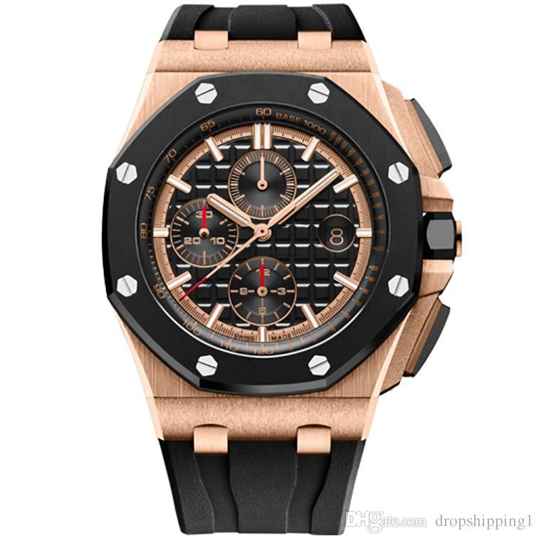 Dropshipping1-U1 Orologi Mens per gli uomini VK movimento al quarzo cronografia mens della serie Royal Oak orologio 15400 cinturino in caucciù orologi mens di sport