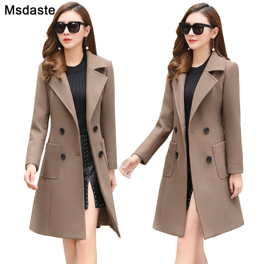 Woolen Women Jacket Coat Long Slim Blend Outerwear 2019 New Autumn Winter Wear Overcoat Female Ladies Wool Coats Jacket Clothes T200110